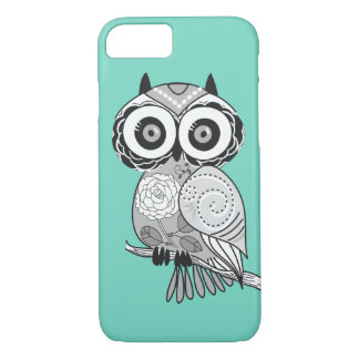 Cool Cute Unique Hipster Groovy Owl Teal iPhone 8/7 Case