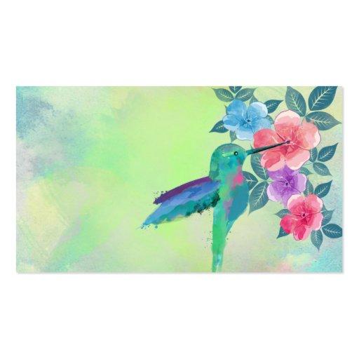Cool cute vibrant watercolours hummingbird floral business card templates