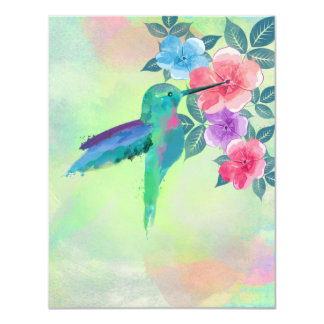 Cool cute vibrant watercolours hummingbird floral card