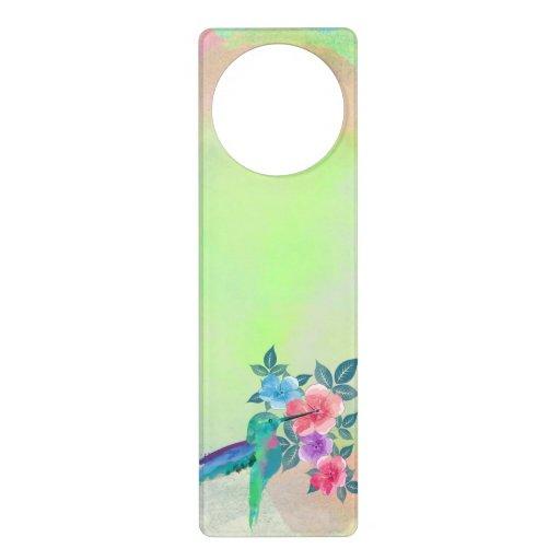 Cool Cute Vibrant Watercolours Hummingbird Floral Door