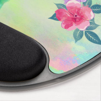 Cool cute vibrant watercolours hummingbird floral gel mouse pad