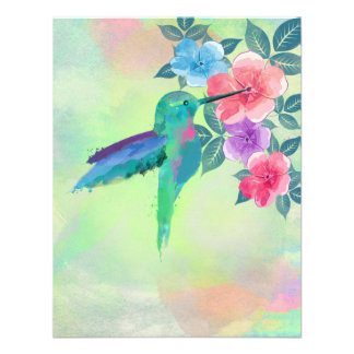 Cool cute vibrant watercolours hummingbird floral personalized announcement