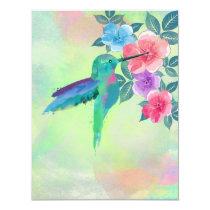 Cool cute vibrant watercolours hummingbird floral invitation