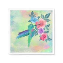 Cool cute  vibrant watercolours hummingbird floral napkin