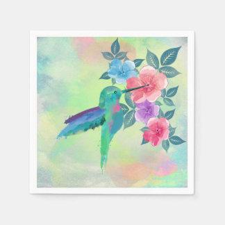 Cool cute  vibrant watercolours hummingbird floral standard cocktail napkin