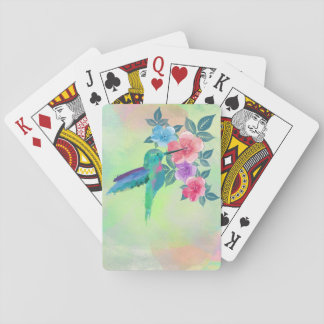 Cool cute vibrant watercolours hummingbird floral playing cards