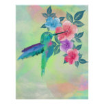 Cool cute vibrant watercolours hummingbird floral poster