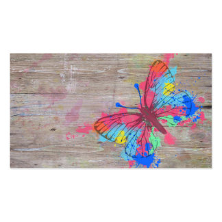 Cool cute vibrant watercolours vintage butterfly Double-Sided standard business cards (Pack of 100)