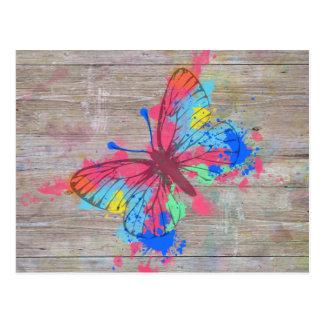 Cool cute watercolours splatters vintage butterfly postcard