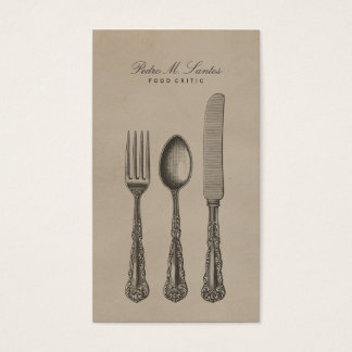 Cool Cutlery Vintage Fork Spoon Knife Professional Business Card