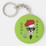 Cool Daddy - O Beatnik Skull Basic Round Button Keychain