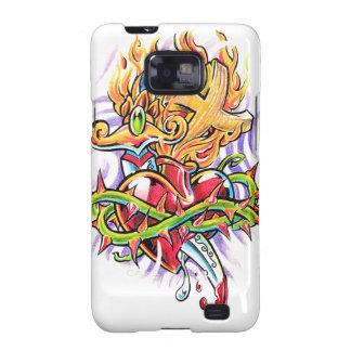 Cool Dagger Heart and Cross tattoo  Samsung Galaxy Galaxy S2 Covers