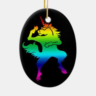 Cool dancing unicorn ceramic ornament