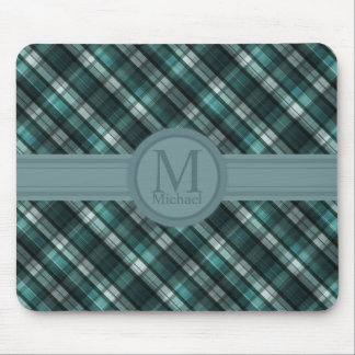 Cool Dark Cyan (Blue Green) Plaid Mouse Pad