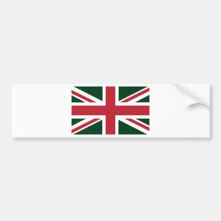 Cool Dark Green Red Union Jack British(UK) Flag Bumper Sticker