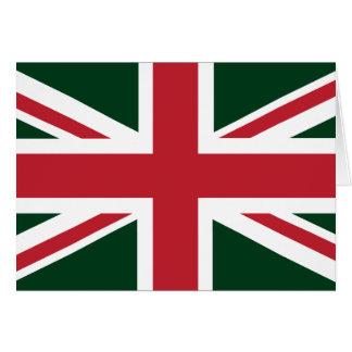 Cool Dark Green Red Union Jack British(UK) Flag Card
