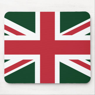 Cool Dark Green Red Union Jack British(UK) Flag Mouse Pad