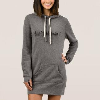 "Cool dark grey sweatshirt dress with ""nasty woman"""
