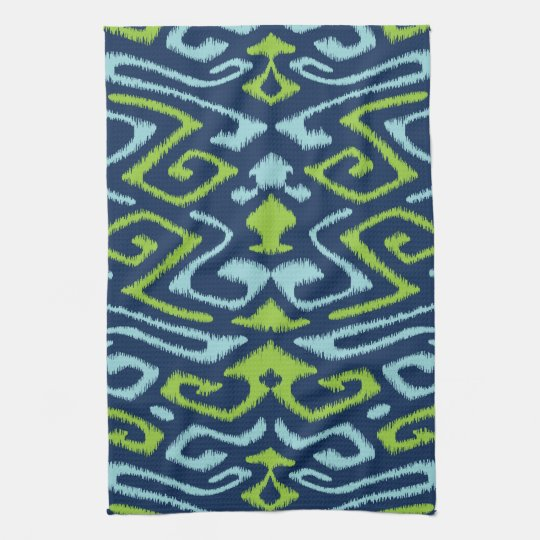 Navy Blue Kitchens That Look Cool And: Cool Dark Navy Blue And Green Tribal Ikat Print Hand Towel