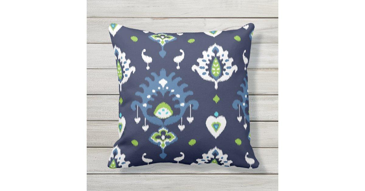 Cool Dark Navy Blue And Green Tribal Ikat Print Outdoor Pillow