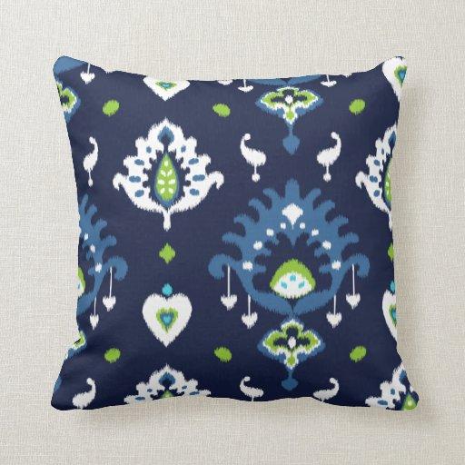 Navy Blue And Green Throw Pillows : Cool dark navy blue and green tribal ikat print pillows Zazzle