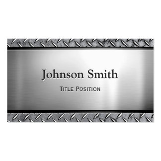Cool Dark Stainless Steel with Diamond Metal Look Double-Sided Standard Business Cards (Pack Of 100)