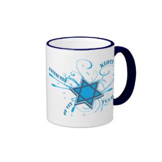Cool David Star & Yiddish Words Blue Mug