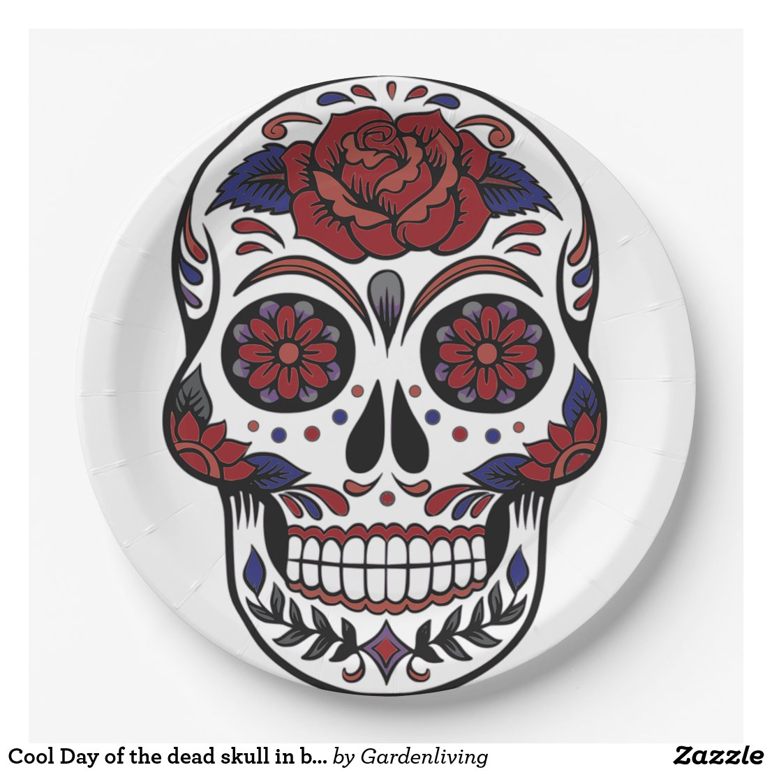 Cool Day of the dead skull in burgundy and blue