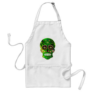 Cool Day of the Dead Sugar Skull Weed Adult Apron