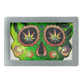Cool Day of the Dead Sugar Skull Weed Belt Buckles