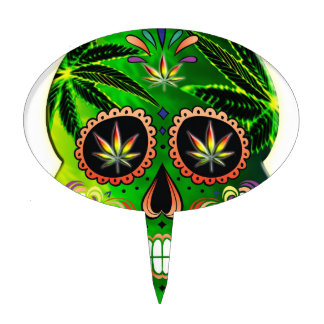Cool Day of the Dead Sugar Skull Weed Cake Topper