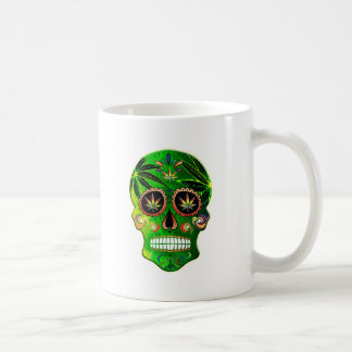 Cool Day of the Dead Sugar Skull Weed Coffee Mug