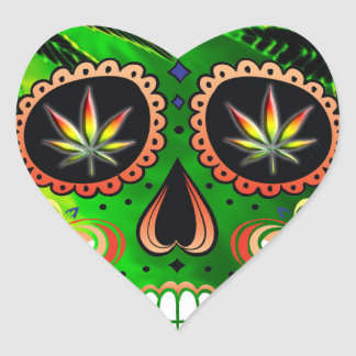 Cool Day of the Dead Sugar Skull Weed Heart Sticker