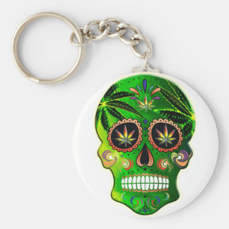 Cool Day of the Dead Sugar Skull Weed Keychain