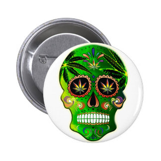 Cool Day of the Dead Sugar Skull Weed Pinback Button