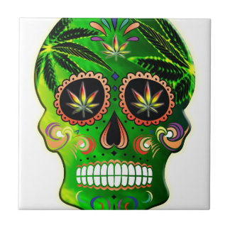 Cool Day of the Dead Sugar Skull Weed Tile
