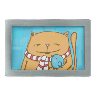 cool day warm hearts Big cat and small bird Rectangular Belt Buckle