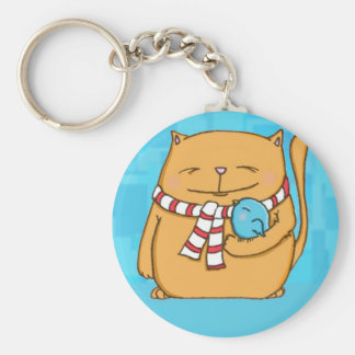cool day warm hearts Big cat and small bird Keychain