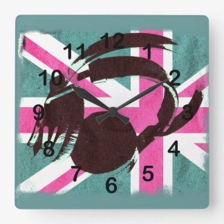 cool deejay headphones on Union jack background Square Wall Clock