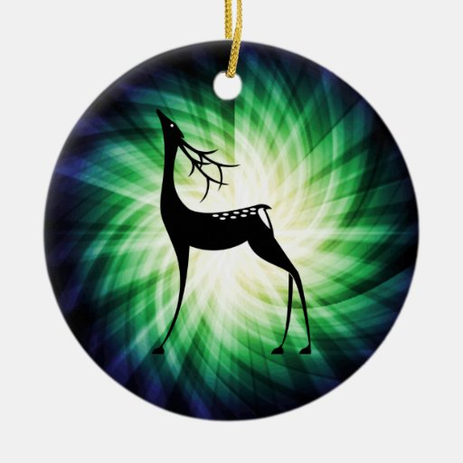 Cool Deer Double-Sided Ceramic Round Christmas Ornament