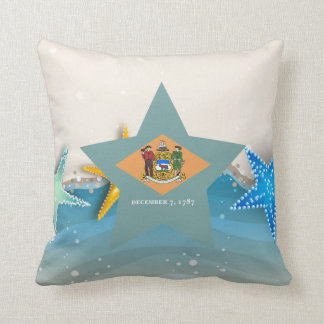Cool Delaware Flag at the Beach Throw Pillow