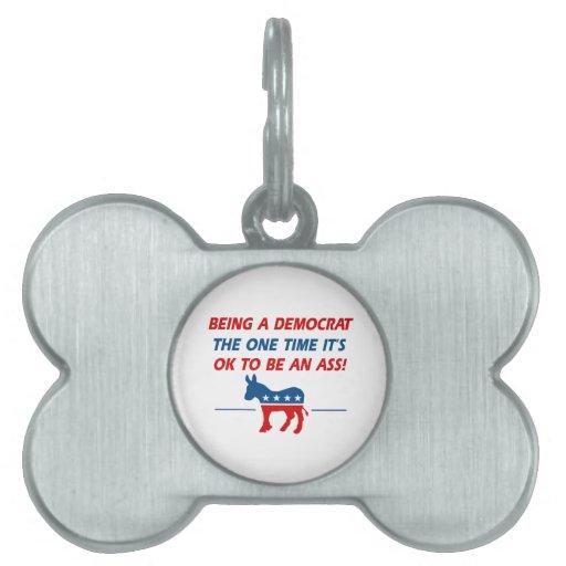 Cool Democratic designs Pet Name Tag