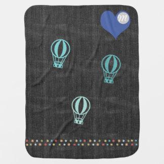 Cool Denim Hot Air Balloon Heart Monogram Baby Blanket