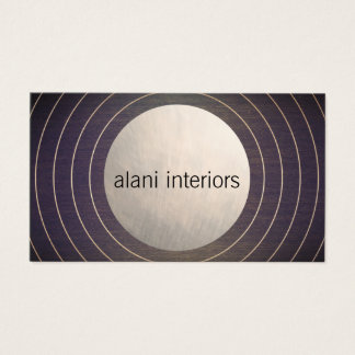 Cool Designer Brushed Silver Circle Modern Wood Business Card