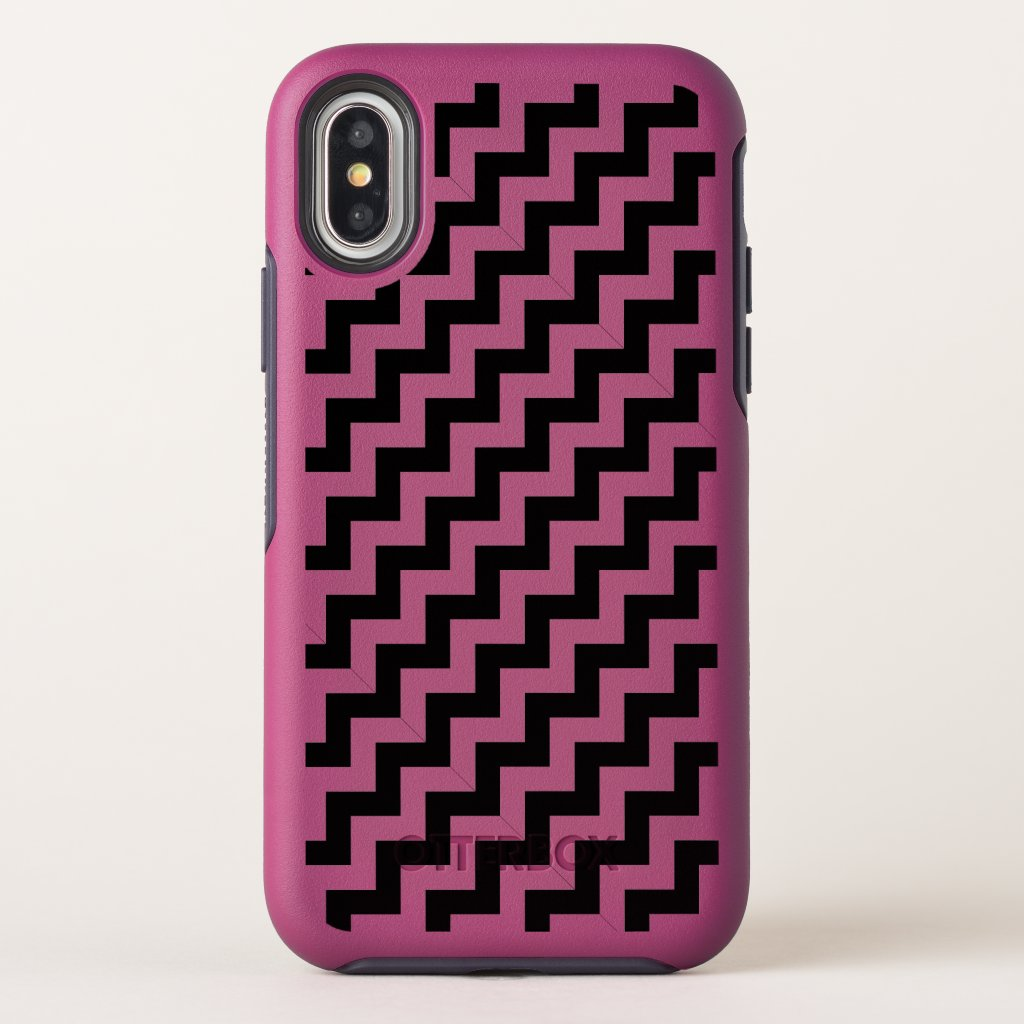 Cool Diagonal Black Chevron Stripes Zigzag on Pink OtterBox Symmetry iPhone X Case