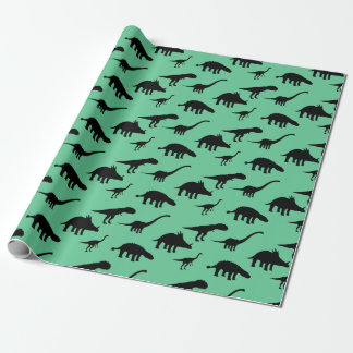 Cool  Dino Dinosaurs Silhouettes Wrapping Paper