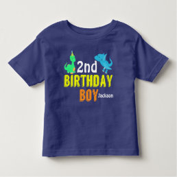 Cool Dinosaur Birthday Boy Party Custom Toddler T-shirt