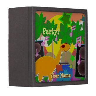 Cool Dinosaur DJ Music Party Gift Box Premium Jewelry Box