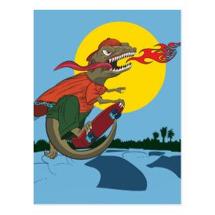 abce7a69ec7 Cool Dinosaur Kid on Skateboard by Rich Patric Postcard