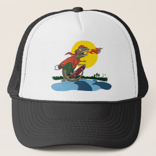 Cool Dinosaur Kid on Skateboard by Rich Patric Trucker Hat 759292819aa